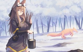 Picture winter, forest, girl, Fox, bowler, ears