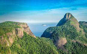Picture sea, mountain, Brazil, Pedra da Gávea