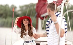 Wallpaper girl, love, stay, yacht, pair, hat, guy, walk