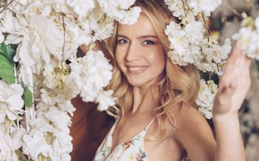 Picture girl, flowers, smile, woman, blonde, girl, white, white, woman, flowers, beautiful, peonies, blond, peonies