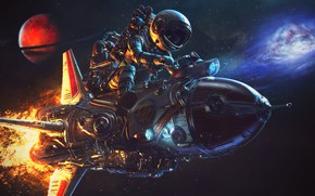 Picture space, light, flight, night, pose, rendering, fiction, fire, flame, planet, speed, management, astronaut, rocket, art, …