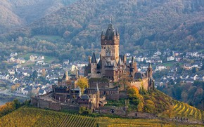Picture tower, Germany, panorama, Cochem castle