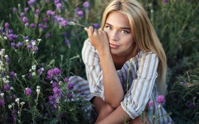 Picture Girl, flowers, sitting, Sergey Sorokin, Luba Ivanova