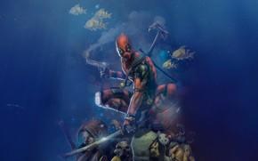 Picture Water, Fish, Figure, Depth, Gun, Fish, Costume, Mask, Art, Art, Deadpool, Marvel, Deadpool, Comics, MARVEL, …
