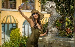 Picture sexy, hat, dress, glasses, phone, sexy, beauty, selfie, sunglasses, Gianna Dior