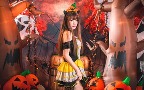 Wallpaper girl, pumpkin, Halloween, Asian, 31 Oct
