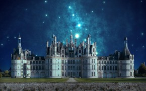 Picture stars, night, castle
