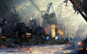 Picture The city, Style, City, Fantasy, Art, Fiction, Daniel Dociu, Cranes, by Daniel Dociu, Futurescape
