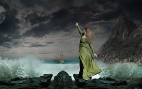 Picture girl, squirt, rocks, shore, ship, photoart