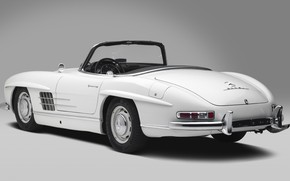 Picture White, Classic Car, Mersedes Benz 300SL