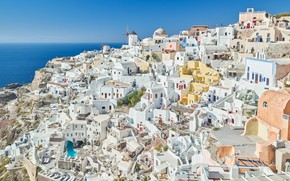 Picture sea, home, Santorini, Greece, panorama, OYA