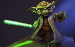 Picture fiction, art, Riot Games, Ayhan Aydogan, Yoda - Star Wars Fan Art