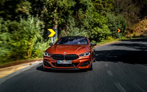 Picture road, trees, coupe, turn, BMW, signs, Coupe, 2018, 8-Series, dark orange, M850i xDrive, Eight, G15