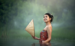 Picture Water, Girl, Asian, Hat, Bathing