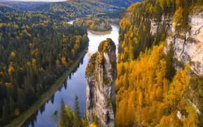 Picture autumn, forest, trees, river, rocks, Russia, Perm Krai, Yuri Stolypin, Скала Чертов Палец, Река Усьва, …