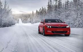 Picture winter, road, Concept, snow, trees, KIA, Kia, universal, 2015, Sportspace, KIΛ