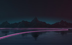 Picture Mountains, Music, Background, Neon, Highway, Synth, Retrowave, Synthwave, New Retro Wave, Futuresynth, Sintav, Retrouve, Outrun, …