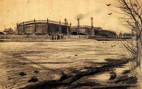 Picture birds, working, Vincent van Gogh, Gasworks