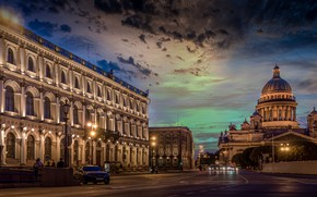 Picture night, the city, building, Peter, lighting, Saint Petersburg, St. Isaac's Cathedral