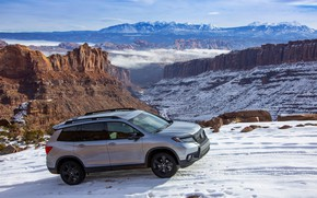 Picture snow, Honda, mountain road, 2019, Passport