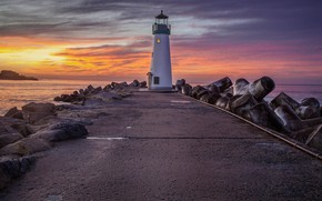 Picture sea, the sky, clouds, sunset, stones, lighthouse, the evening, pipe, pierce, things