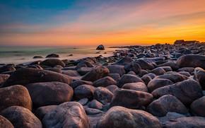 Picture sunset, stones, coast, Norway