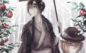 Picture winter, snow, flowers, umbrella, guys, Camellia, Bungou Stray Dogs, Stray Dogs: A Literary Genius