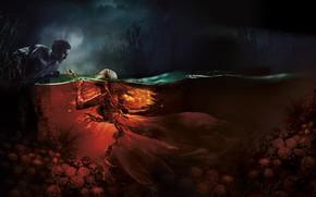 Picture girl, night, lake, the moon, mermaid, mystic, fantasy, skull, male, poster, horror, Mermaid. Lake of …