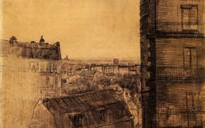 Picture home, Vincent van Gogh, the Rue Lepic, the Apartment in, View from