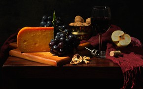 Picture style, the dark background, table, wine, glass, Apple, food, cheese, scarf, bunch, alcohol, tube, drink, …