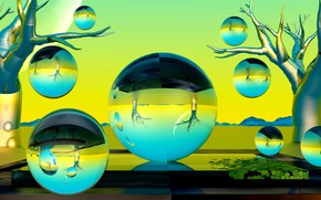 Picture bubbles, balls, sphere, green