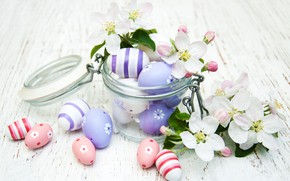 Picture branch, spring, Easter, flowers, eggs, jar