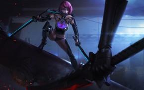 Picture Girl, Girl, Sword, Fantasy, Art, Art, Fiction, Figure, Character, Confrontation, Sword, Dagger, Cyberpunk, Figure, Cyberpunk, …