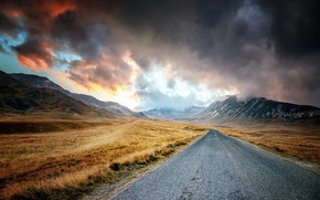 Picture road, the sky, mountains