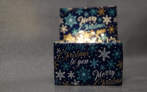 Picture winter, background, holiday, box, lights, Christmas, New year, garland, Christmas decorations, новогодние декорации