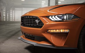 Picture Orange, Ford Mustang, Muscle Car, The front, EcoBoost, 2020