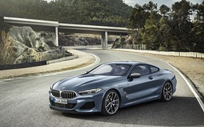 Picture road, coupe, BMW, Coupe, 2018, gray-blue, 8-Series, pale blue, M850i xDrive, Eight, G15
