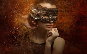 Picture eyes, look, girl, face, style, background, portrait, treatment, hands, mask, art, young