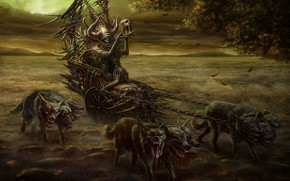 Picture skull, undead, hell hounds
