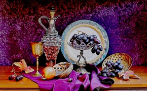 Picture rendering, silver, glass, grapes, crystal, pitcher, still life, picture, silk fabric, drape, vase with fruit