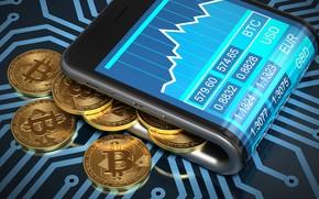 Picture smartphone, smartphone, coins, bitcoin, bitcoin, btc