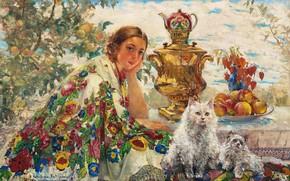 Picture oil, У самовара, Екатерина Качура-Фалилеева