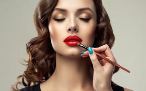 Picture girl, face, makeup, lipstick, lips, red, lipstick, Sofia Zhuravets'