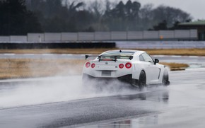 Picture white, water, Nissan, GT-R, track, R35, Nismo, 2019