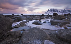 Picture winter, snow, stones, rocks, shore, Norway, pond