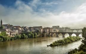 Wallpaper bridge, river, France, Albi