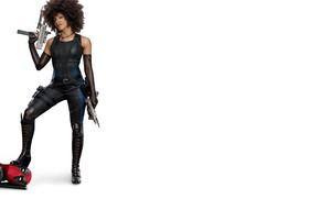 Wallpaper girl, weapons, fiction, figure, hairstyle, costume, white background, Ryan Reynolds, Ryan Reynolds, Deadpool, comic, MARVEL, ...