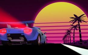Picture The sun, Auto, Music, Lamborghini, Machine, Background, 80s, Supercar, Countach, Rendering, Lamborghini Countach, 80's, Synth, ...