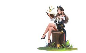 Picture girl, anime, art, book, stump, illust, who sweat