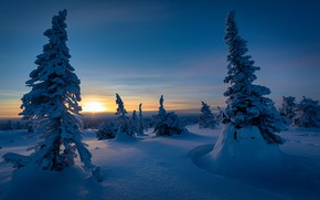 Picture winter, snow, sunset, ate, Finland